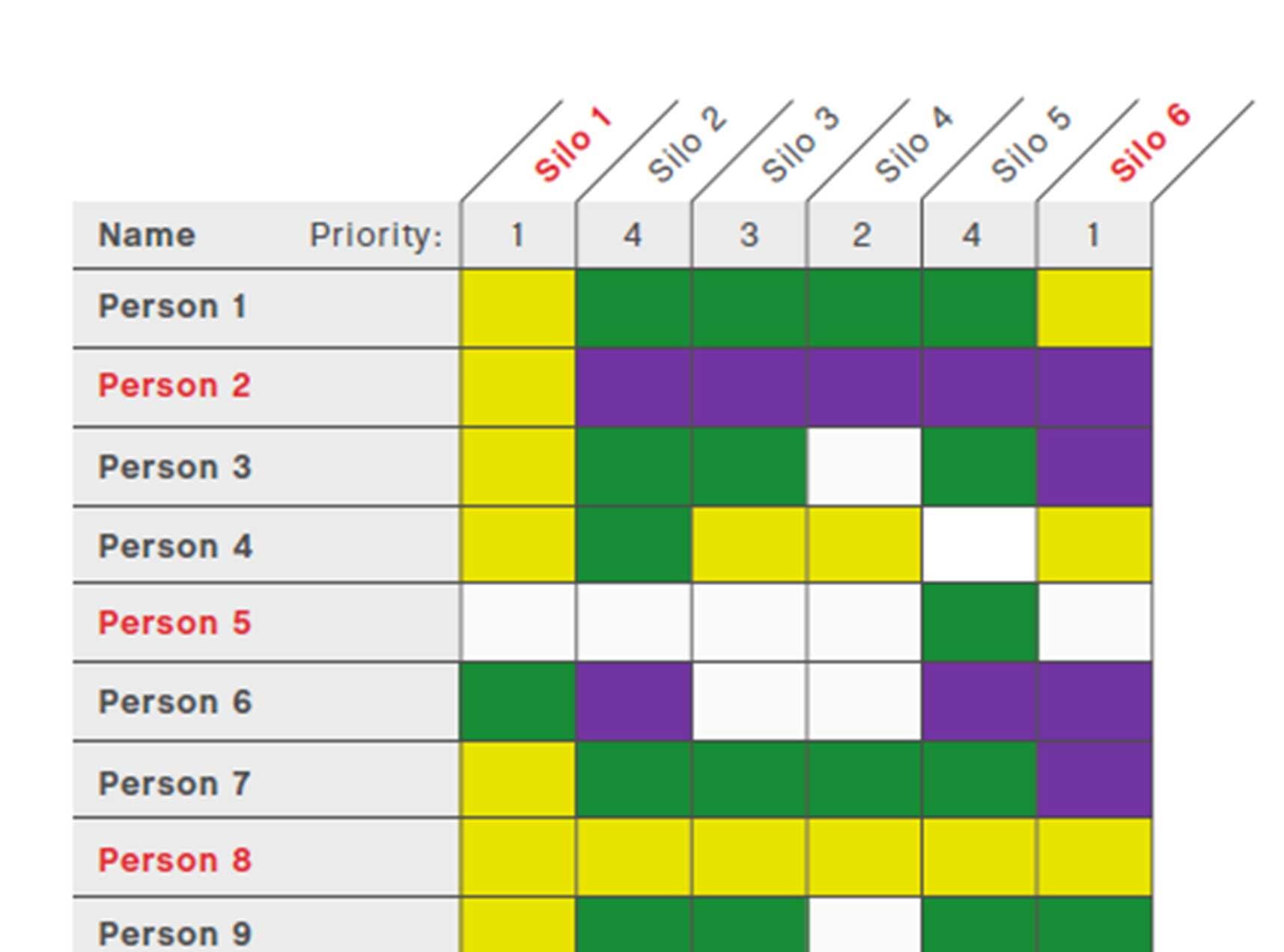 Knowledge Silo Matrix Sample