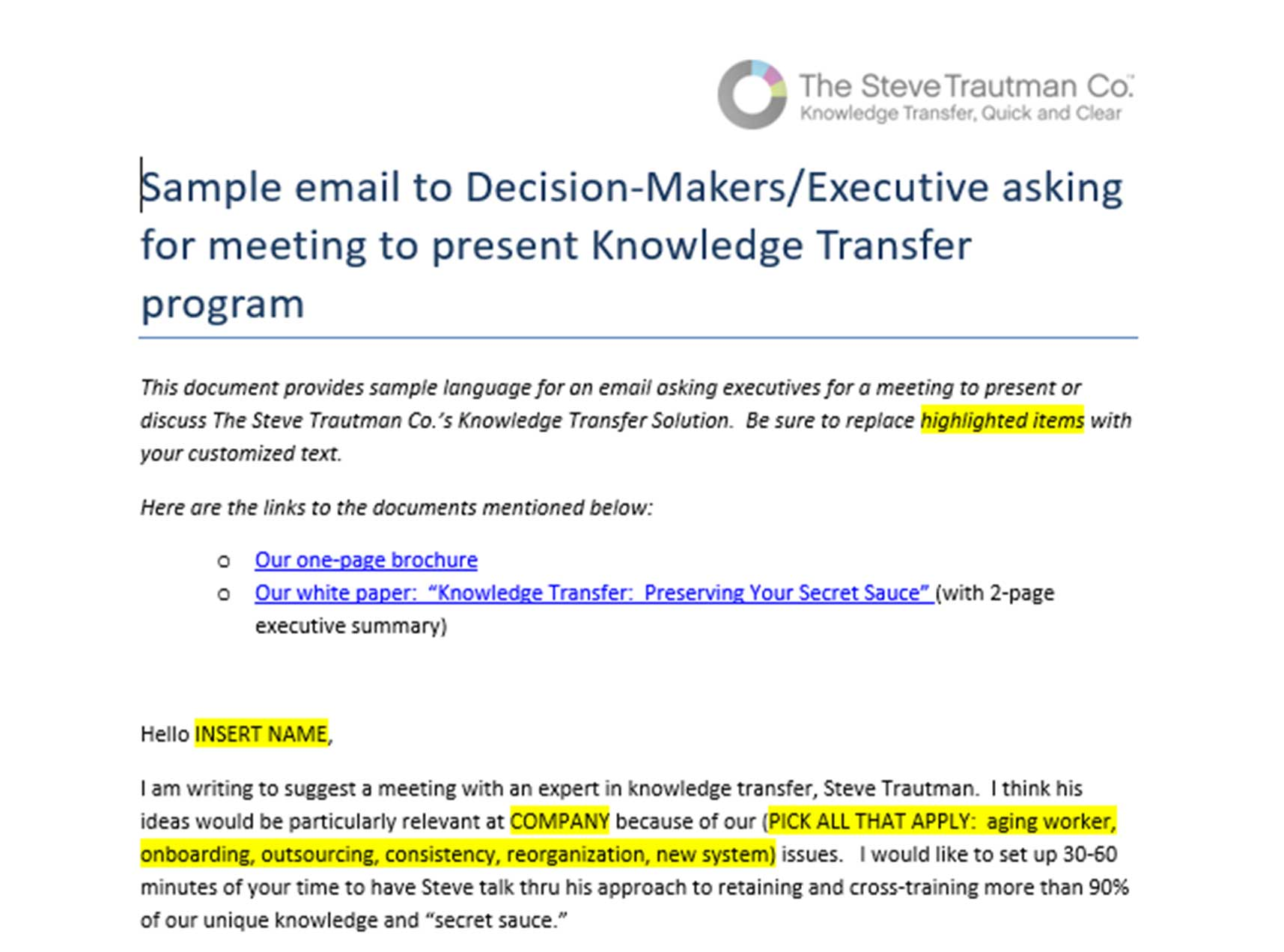 Sample Email Invite: To Ask for a Meeting to Discuss Talent Risk Program